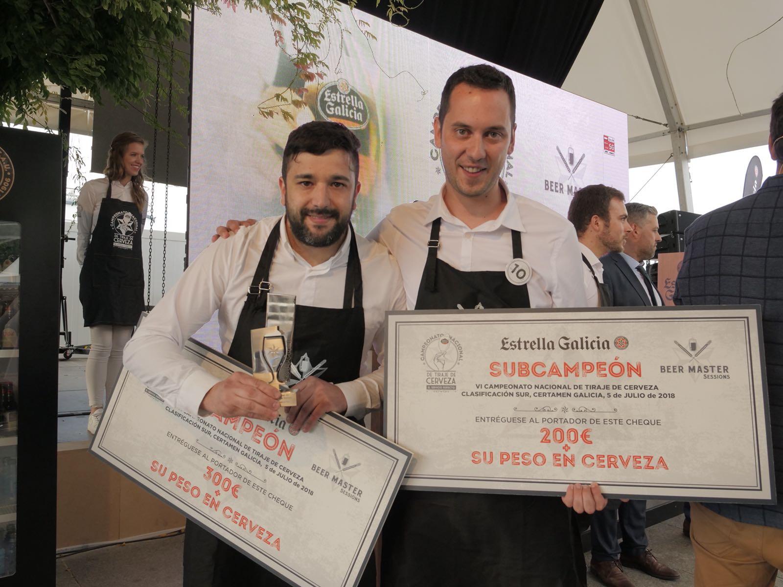 Campeón y subcampeón - Campeonato de Tiraje de Cerveza Estrella Galicia Certamen Galicia Sur